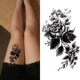 Czarny duży kwiat Body Art Wodoodporna Tymczasowa Sexy udo tatuaże rose Dla Kobieta Flash Tatuaż Naklejki 10*20 cm KD1050