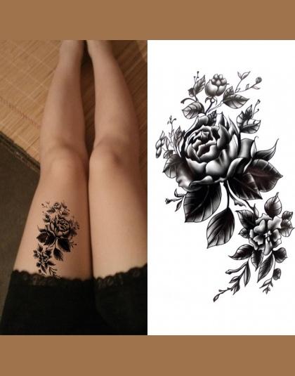 Wodoodporny Tatuaż Tymczasowy Sexy Róża Kwiat Naklejka Na Ciało Na Udo Czarny