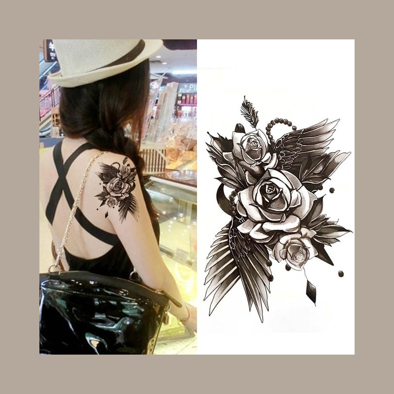 Wodoodporny Tatuaż Tymczasowy Sexy Róża Kwiat Naklejka Na