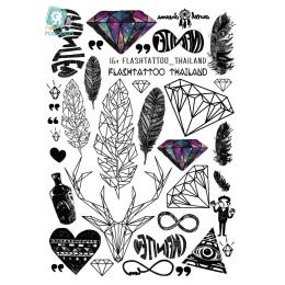Rocooart A6080-201 Duże Czarne tatuagem Taty Tymczasowe Tattoo Body Art Naklejki Feather Rainbow Diament Glitter Tatuaż Naklejki