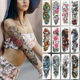 Duża tuleja Ramienia Tatuaż Wodoodporna tymczasowa Naklejka tatuaż Czaszki Anioł lotosu wzrosła Mężczyźni Pełna Kwiat Tatuaż Bod