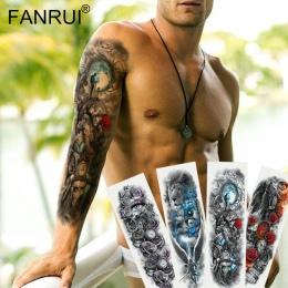 Wojownik Żołnierz armii Czarny Tymczasowe Tatuaż Naklejki Dla Mężczyzn Full Body Art Tuleja Ramienia Tatuaż 48*17 CM Duże wodood
