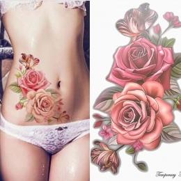 Uroda 1 piece tworzą Fałszywy tymczasowe tatuaże naklejki rose kwiaty ramię ramię tatuaż wodoodporna kobiety big flash tatuaż na