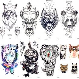 Geometria Kot Ełk Wilk Tymczasowe Tattoo Kobiety Ciała Arm Transferu Wody Tatuaż Mężczyźni Makijaż Tatto Naklejki Bransoletka De