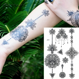 1 PC Moda Flash Wodoodporna Tatuaż Kobiety Black Ink BJ019 Jewel Sexy Koronki Kwiat Wisiorek Wed Henna Henna Tymczasowe Tatuaż k