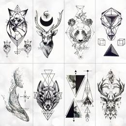 Geometria fajne Tymczasowa Naklejka Tatuaż Kobiet Minimalistyczne linie wzór Tatuaże Body Art Nowy Projekt Fałszywe Mężczyzn