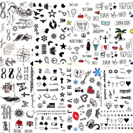 Hot Małe Sexy Lips Liść Czarny Cartoon Tymczasowy Tatuaż Śliczne Gwiazda Tatuaż Naklejki Miłość Kobiety Ciała Finger Art Wodoodp