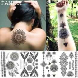 Koronkowa Czarna Henna Tymczasowa Naklejka Tatuaż Sowa Mandala Wodoodporna Fałszywy Tatuaż Sztuki Ciała Kobiet 20x15 CM Mehndi B