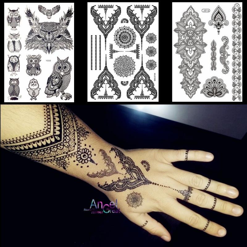 Koronkowa Czarna Henna Tymczasowa Naklejka Tatuaż Sowa