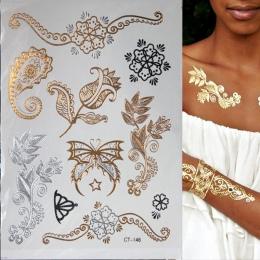 Hot Metaliczny Błysk Wodoodporna Tymczasowa Tatuaż Złoty Srebrny Tatuaż Kobiety Henna Kwiat Taty Projekt Naklejka Tatuaż