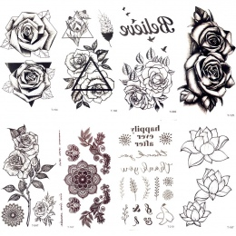 Czarny Trójkąt Rose Flower Tymczasowy Tatuaż Lato Pióro Ptaki Tatuaż Naklejki Kobiety Party Wodoodporna Tatto Dziewczyny Ciała A