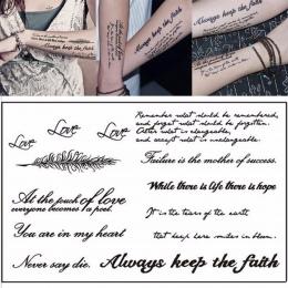 1 Arkuszy Tymczasowe Tatuaż Naklejki Czarne Litery Angielskie Słowo Feather Naklejki Wodoodporna Dla Tymczasowe Tatuaże Tatuaże