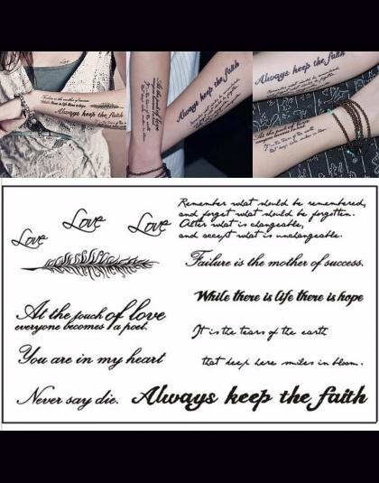 Tymczasowe Tatuaże Naklejki Czarne Litery Angielskie Słowa Wodoodporne