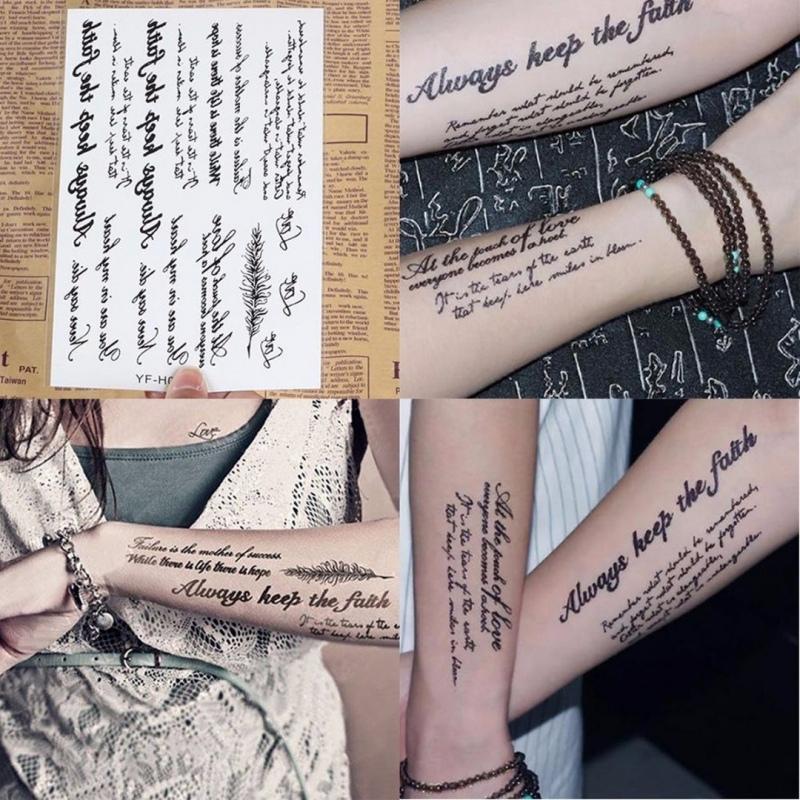 Tymczasowe Tatuaże Naklejki Czarne Litery Angielskie Słowa