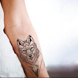 Wodoodporna Tymczasowa Fałszywy Tatuaż Naklejki Fajne Szary Geometryczne Wilk Lasów Górskich Projekt Body Art Makijaż Narzędzia