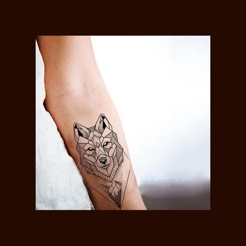 Wodoodporny Tymczasowy Fałszywy Tatuaż Naklejki Fajne Szary Geometryczne Wilk Las Góry Projekt Body Art Makijaż