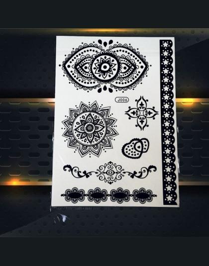 1 Pc Hot Dreamcatcher Duża Indian Słońce Kwiat Pióro Styl Wodoodporny Naklejka Tatuaż Tymczasowy Tatuaż Czarny Mehndi Henna Pbj0