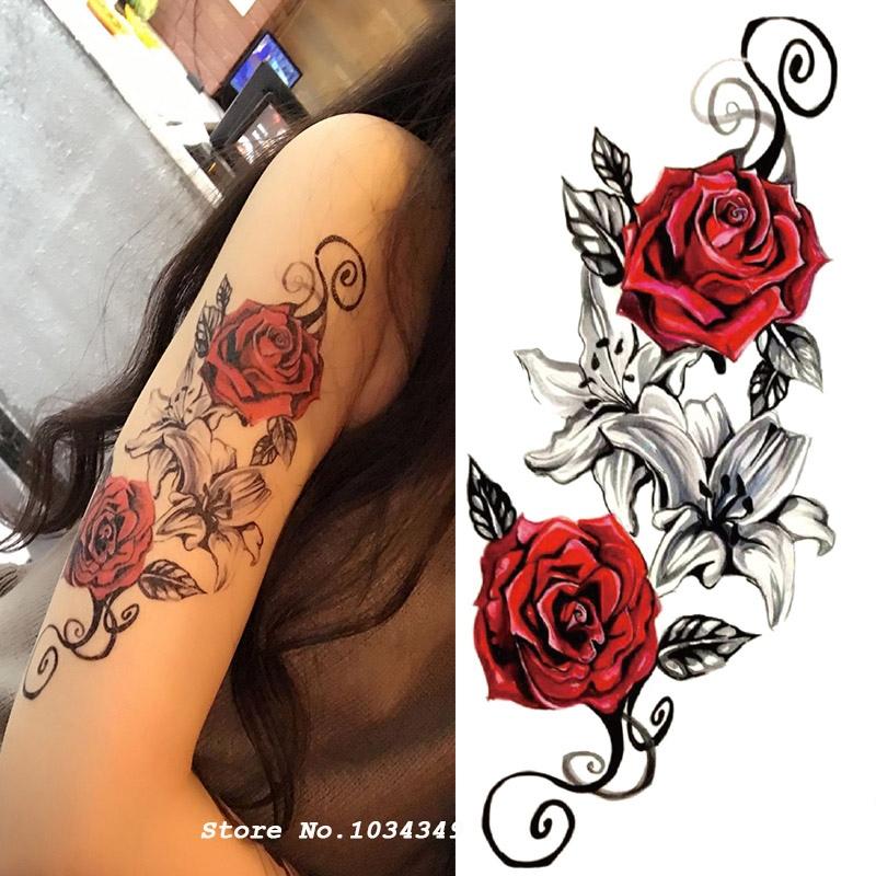 1 Sztuk Akwarela Kwiat Tymczasowe Tatuaż Ciało Tak Piękny