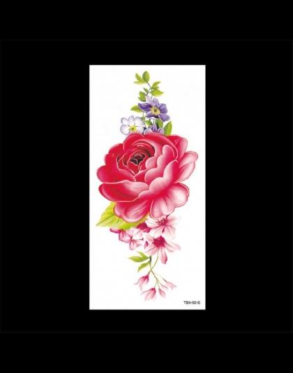 Piękna Róża Sztuczne Kwiaty Ramię Ramię Tatuaż Naklejki Flash Tatuaż Fałszywe Wodoodporna Tymczasowe Tatuaże Naklejka Kobiet Na