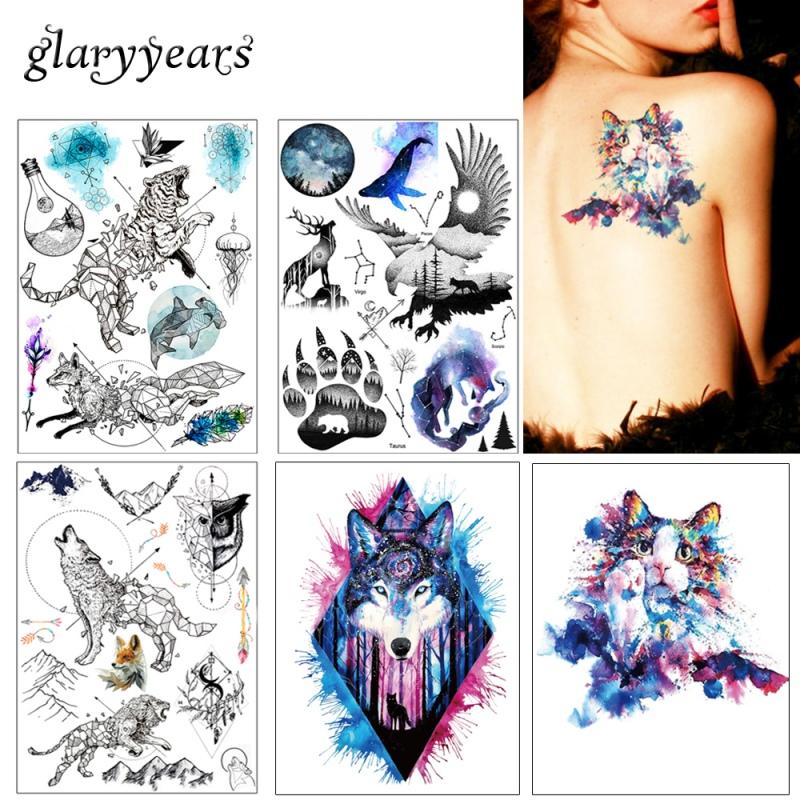 1x Diy Tymczasowe Tattoo Body Art Kolorowe Zwierzęta