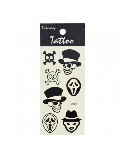 1 Arkusz Czarny Wodoodporne Naklejki Tatuaże Tymczasowe Tatuaż Naklejki Pióro Kot Czaszka Diament Glitter Tatuaż Naklejki La101