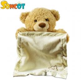 Wysokiej jakości 30 cm Nadziewane Misia chowanego Animowane rozmowa zwierząt niedźwiedź zabawki nieśmiały niedźwiedź najlepszy p