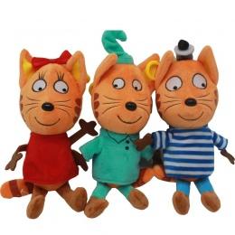 3 sztuk/partia Rosyjski Kreskówki Trzy Kocięta Kocięta Szczęśliwy Kot Nadziewane Pluszowe Zabawki Miękkie Zwierzęta Kot Zabawki