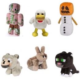 Minecraft Pluszowe Wypchane Zabawki 18-20 cm Minecraft Steve Zombie Wilk Śniegu Golem Ocelot Królika Kurczaka Pluszowe Zabawki d