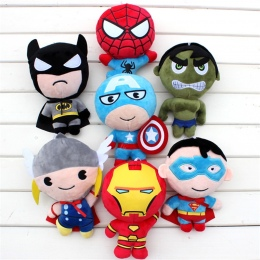 Detal 2016 Pluszowe zabawki Avengers Iron Man Hulk Thor Spiderman Batman Superman Captain America chłopiec Boże Narodzenie preze