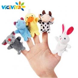 VICIVIYA 10 Sztuk/zestaw Cute Cartoon Biologiczna Zwierząt Finger Lalek Pluszowe Zabawki Dziecka Favor Lalki Dla Dzieci Chłopcy