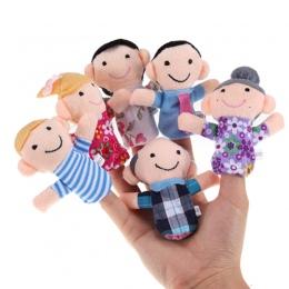 Hot! 6 Sztuk/partia fantoches de dedo Rodzina Finger Puppets Cloth Doll Ręcznie Edukacyjne Dla Dzieci Toy Story Kid Darmowa Wysy