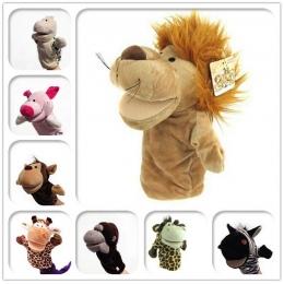 Klasyczna Ładny Karton Zwierząt Pacynka Zabawki Pluszowe Lalki Żaba świnia Królik Zwierzęta Tygrys Lew Małpa Niedźwiedź Lalka Za