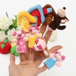 1 sztuk 8 sztuk/zestaw Kolorowe Three Little Pigs Dzieci Zabawki Edukacyjne Bajki Historia Zwierzęta Palec Pacynki