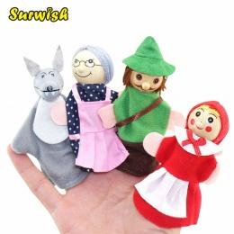 Surwish 4 sztuk/zestaw Bajka Czerwony Kapturek Finger Puppets Storytelling Doll Dzieci Dzieci Dziecko Zabawki Edukacyjne