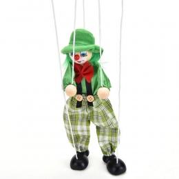 Śmieszne Rocznika Kolorowe Pull String Clown Lalek Zabawki Drewniane Rzemieślnicze Marionette Wspólne Aktywności Lalki Dla Dziec