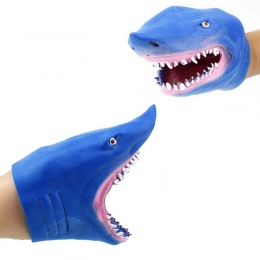 1 pc TPR Miękkie Niebieski Obrazowo Shark Pacynka Rękawice Klasyczny Ładny Karton Zwierząt Ręcznie Zabawki Family Story Telling