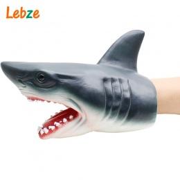 Rekina Ręcznie Lalek Dla Historie nietoksyczny Miękkie Gumowe Głowy Zwierząt Pacynka Realistyczne Shark Model Rysunek Zabawki Dl