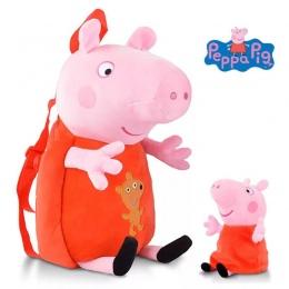 Nowo Przybyły Prawdziwe Peppa Pig 44 cm torba + 1 pc doll Kid śliczne Torby Plecak Przedszkola Cartoon pluszowa torba Gorąca spr