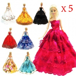 5 sztuk Wysokiej Jakości Mody Handmade Ubrania Sukienki Rośnie Strój dla Lalka Barbie dress for girls Losowo Rodzajów i Kolorów
