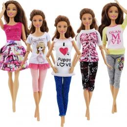 5 zestaw Handmade Moda Outfit Codzienne Casual Wear Bluzka Koszula Kamizelka Spodnie Dolne Spódnica Odzież Dla Lalka Barbie Akce