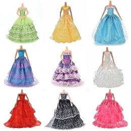 Biały Elegancki Handmade Ślub księżniczka Sukienka Dla Lalka Barbie Floral Doll Dress Odzież Odzież Wielu Warstwy Lalki Akcesori