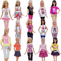 1 sztuk Handmade Moda Strój Krótka Sukienka Kreskówka Wzór T-shirt Legginsy Spodnie Akcesoria Ubrania Dla Lalka Barbie Zabawki