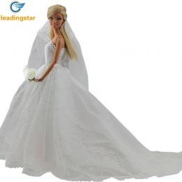 LeadingStar Sukni Ślubnej Sukni Księżniczki Ubrania Haftowane Moda Wedding Party Długa Biała Sukienka Dla Lalka Barbie Acessorie