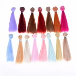 1 sztuk Włosy Refires Bjd Włosów 15 cm * 100 cm Kolorowe Długie Proste Wig Włosów Dla 1/3 1/4 BJD diy