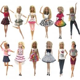 NK 6 sztuk Lalka Ubrania Handmade Moda Krótka Sukienka Kreskówka Wzór Strój Dla Lalka Barbie Akcesoria Dziewczynka DIY zabawki