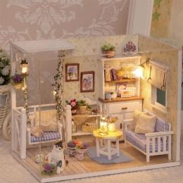 Doll House Meble Miniatura Diy Pył Pokrywa 3D Drewniane Miniaturas Domek Dla Lalek Zabawki dla Dzieci Prezenty Urodzinowe Kotek