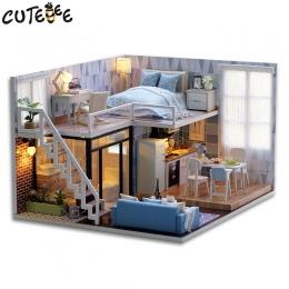 CUTEBEE DIY Doll House Drewniane Domów Lalek Miniaturowe dollhouse Meble Zestaw Zabawek dla dzieci Christmas Gift L023