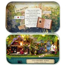 Śmieszne Wieś Pole Pole Teatr Lalek Miniaturowe Notatki 3D Drewniane DIY Handmade Śliczne Mini Doll House Montażu Zestawy Upomin