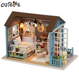 CUTEBEE Doll House Miniatura DIY Dollhouse W Meble Drewniany Dom Zabawki Dla Dzieci Prezent Urodzinowy Z007