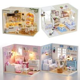 DIY Modelu Dollhouse Meble Miniaturowe Lalki Dom Pył Pokrywa 3D Drewniane Prezent Na Boże Narodzenie Zabawki Dla Dzieci Kotek Pa